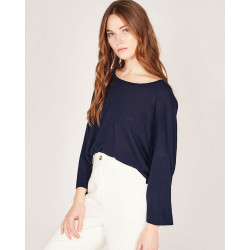 round neck boyfriend 3/4 sleeves sweater made of 85% bamboo and 15% Cashmere