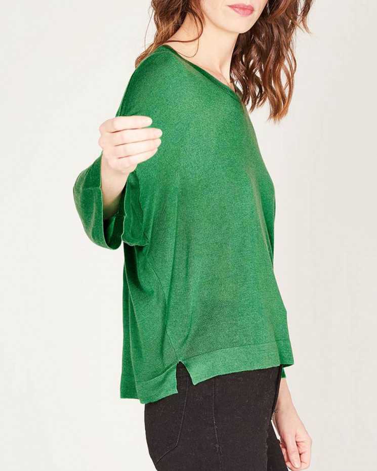 pull col rond boyfriend à manches 3/4 | 85% bamboo - 15% cachemire | menthe | lily