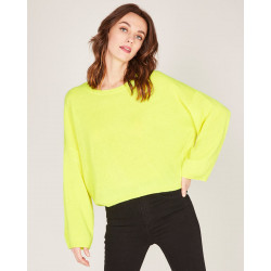pull court col rond en 100% cachemire