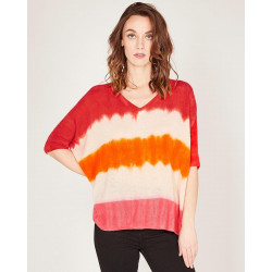 v-neck short sleeves poncho made of 100% cashmere
