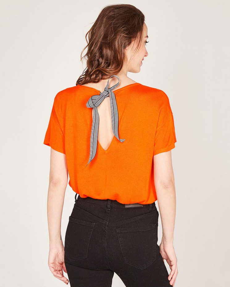 round neck 1/2 sleeves tee-shirt made of 85% bamboo and 15% Cashmere
