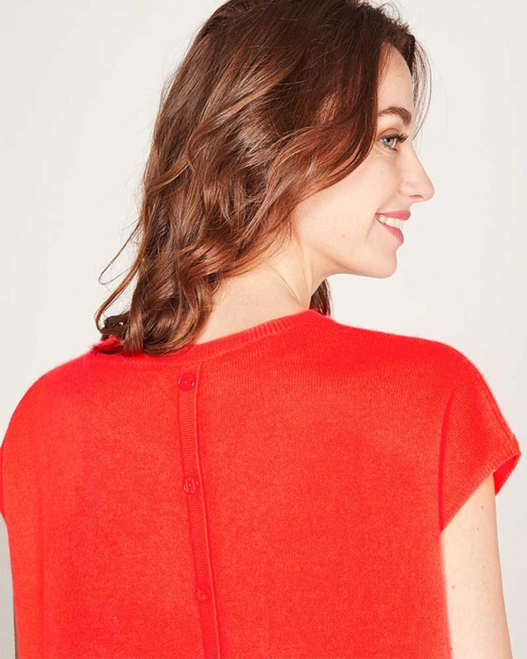 round-neck short sleeves sweater made of 100% cashmere