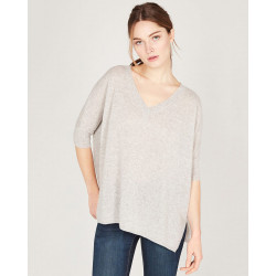v-neck ribbed sleeves poncho made of 100% cashmere