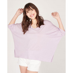 v-neck 3/4 sleeves oversized poncho tee-shirt made of 67% lyocell 33% organic cotton