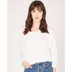 round-neck oversized 3/4 sleeves tee-shirt made of 85% recycled linen 15% linen