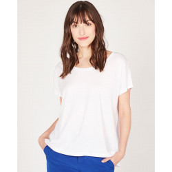 oversized round neck short sleeves tee-shirt made of 67% lyocell 33% organic cotton