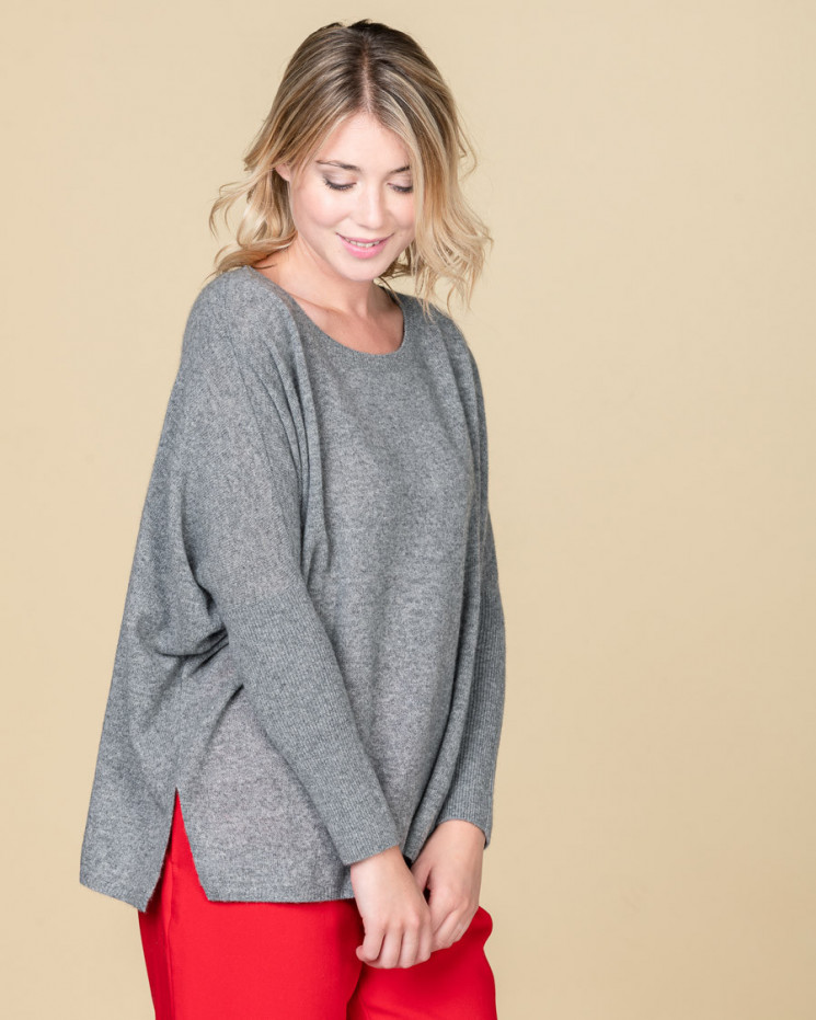 pull col rond oversize | 100% cachemire | gris chine fonce | astrid