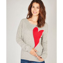 Pull Clothilde / Pull 100% cachemire à col rond motif intarsia coeur et manches raglans