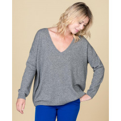 pull col V oversize | 100% cachemire | gris chine clair | angele
