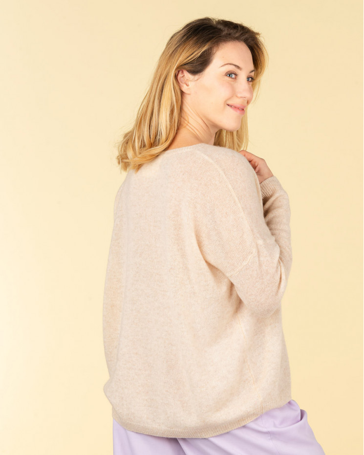 pull col V ample   50% cachemire - 50% laine   beige chine   mercedes