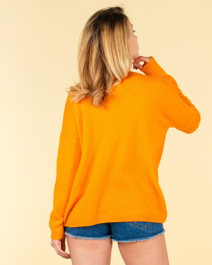pull col V ample   50% cachemire - 50% laine   papaye   mercedes