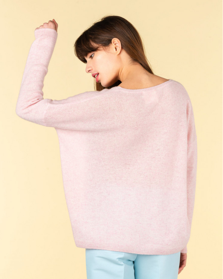 pull col V ample   50% cachemire - 50% laine   poudre chine   mercedes