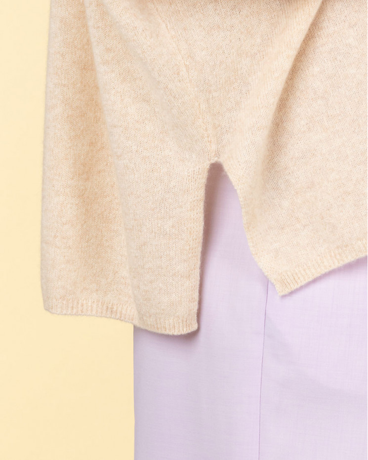 pull col V ample   100% cachemire   beige chine  kate
