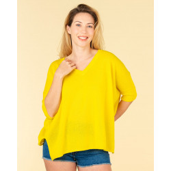pull col V ample | 100% cachemire | jaune fluo| kate
