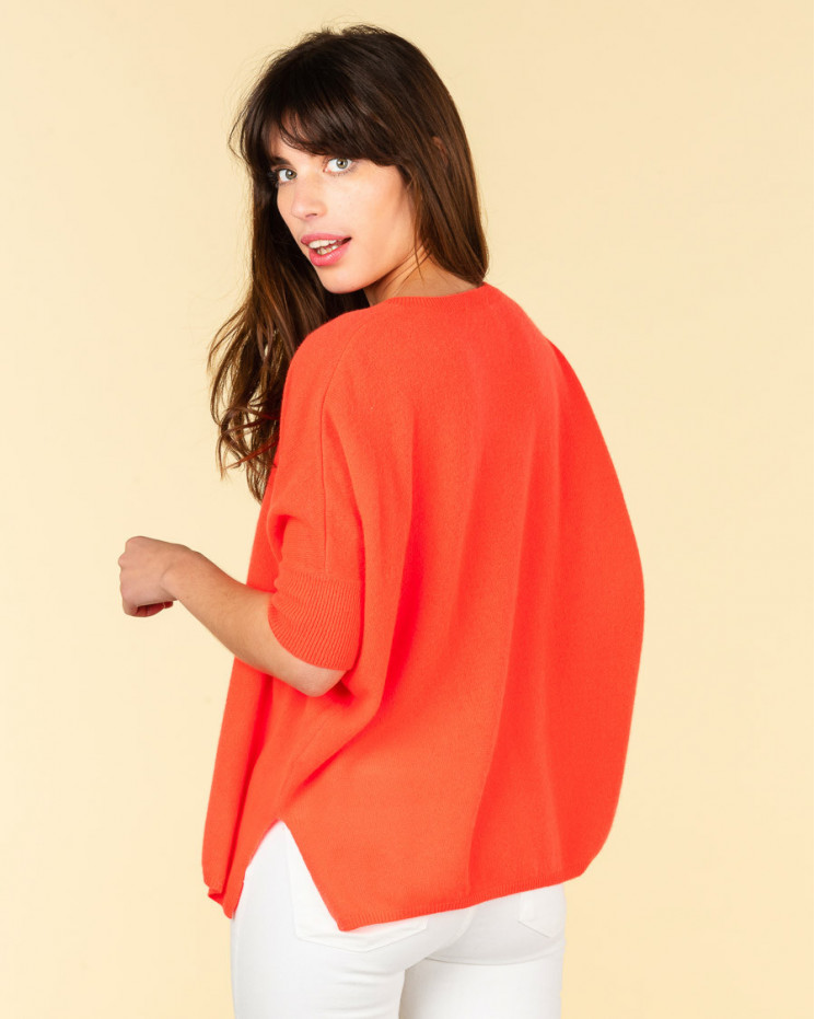pull col V ample | 100% cachemire | corail fluo| kate