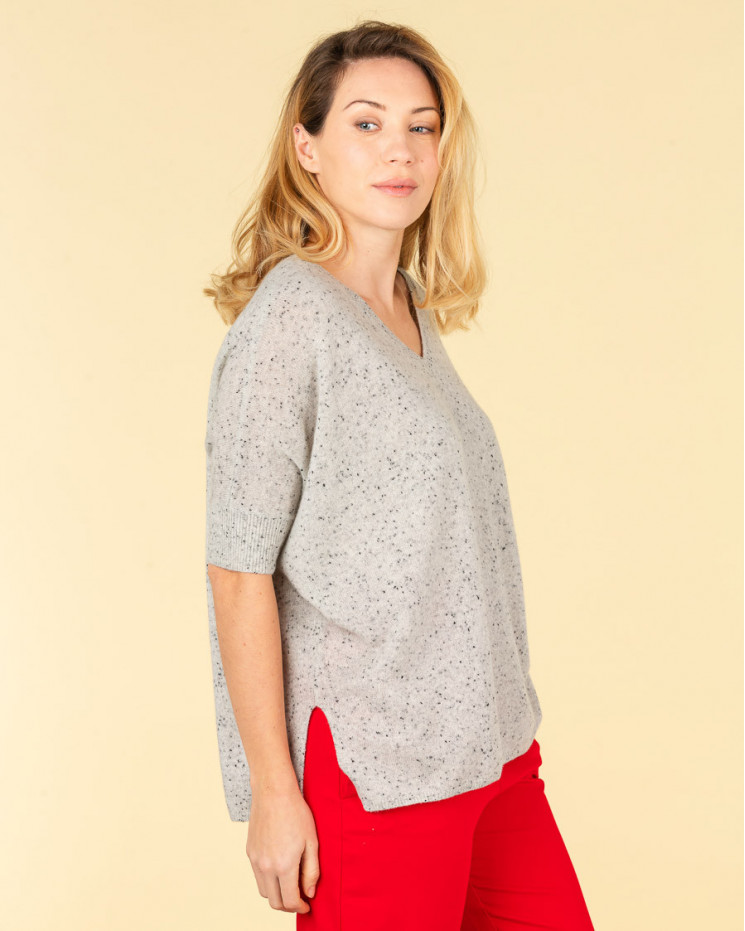 pull col V ample | 100% cachemire | gris multico| kate