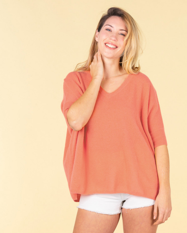 pull col V ample | 100% cachemire | melon| kate