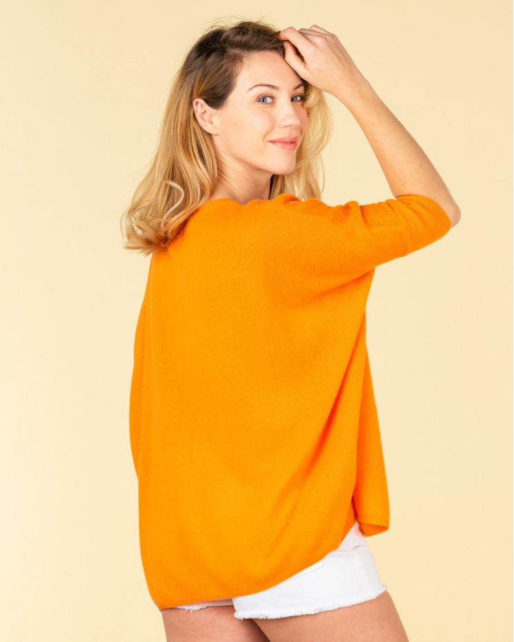 pull col V ample | 100% cachemire | papaye| kate