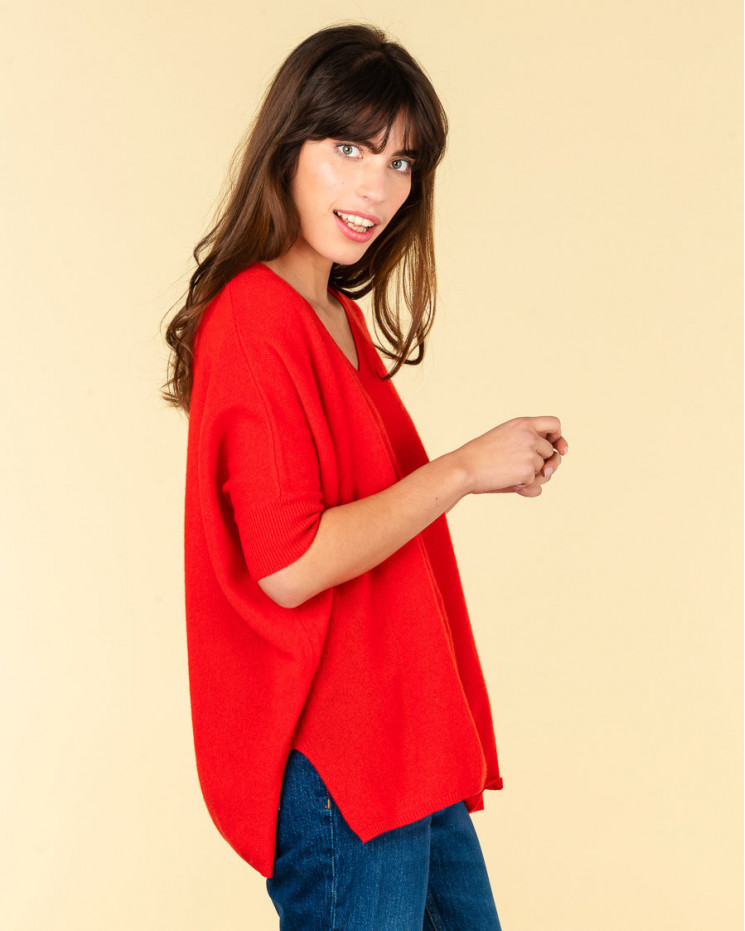 pull col V ample   100% cachemire   rubis  kate