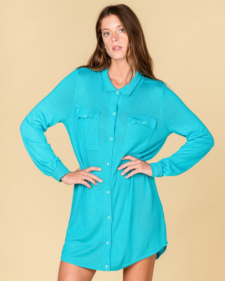 robe encolure chemise et poches | 85% bamboo 15% cachemire | turquoise | constance