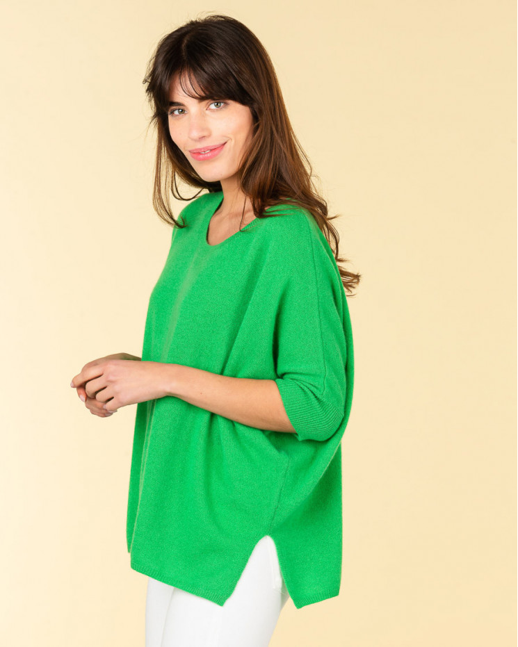poncho col rond ample | 100% cachemire | amande | olympe