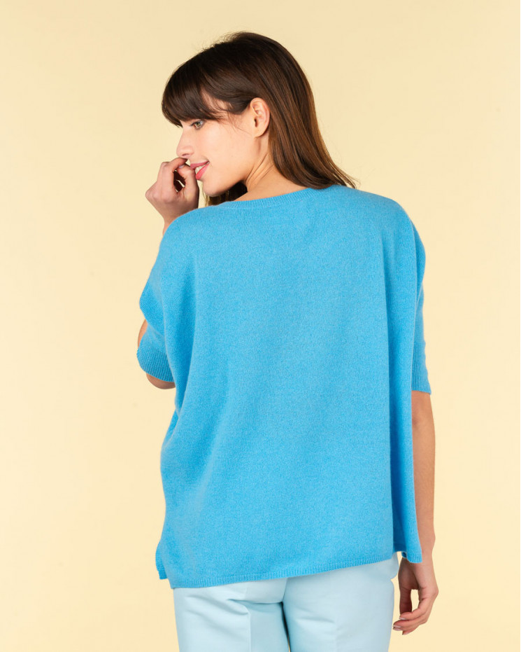 poncho col rond ample   100% cachemire   azur   olympe