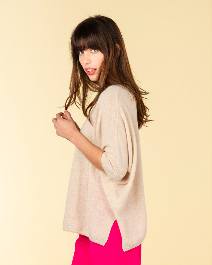 poncho col rond ample   100% cachemire   beige chine   olympe