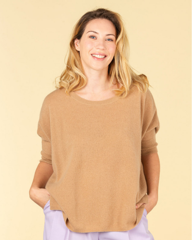 poncho col rond ample | 100% cachemire | camel | olympe