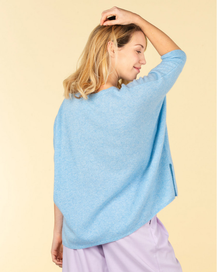 poncho col rond ample | 100% cachemire | ciel | olympe