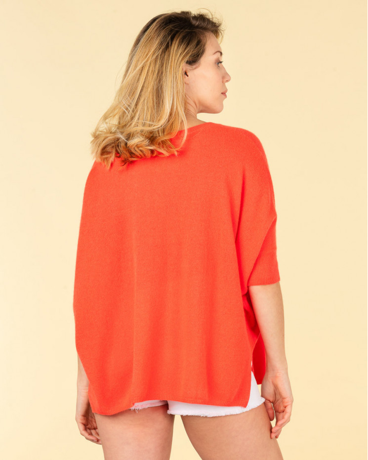 poncho col rond ample | 100% cachemire | corail fluo | olympe