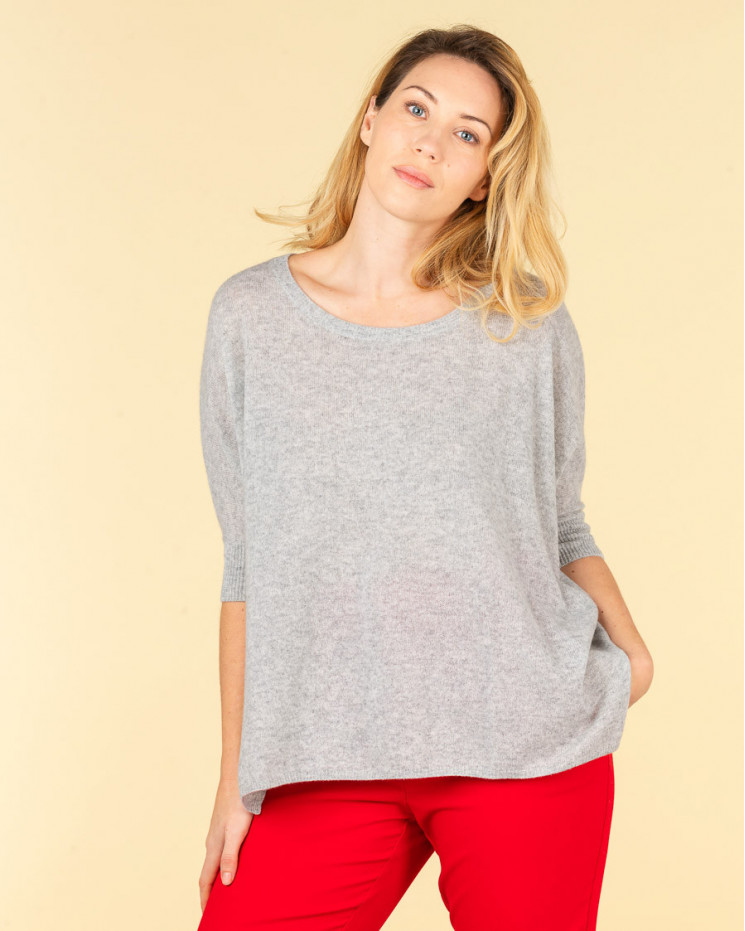 poncho col rond ample   100% cachemire   gris chine   olympe