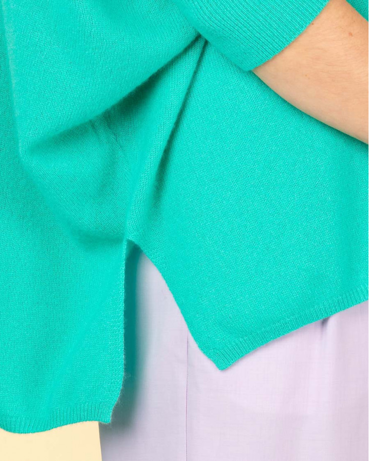 poncho col rond ample | 100% cachemire | jade | olympe