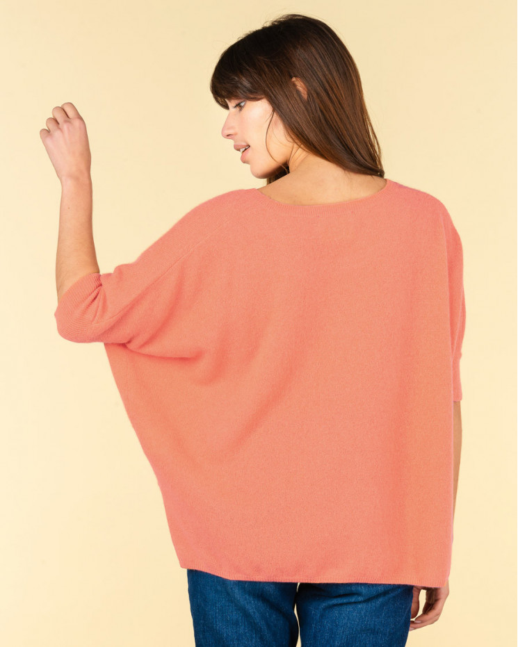 poncho col rond ample | 100% cachemire | melon | olympe