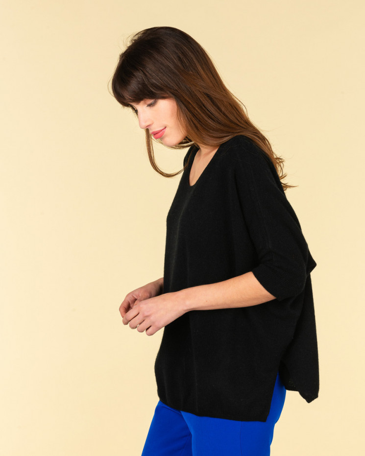 poncho col rond ample | 100% cachemire | noir | olympe
