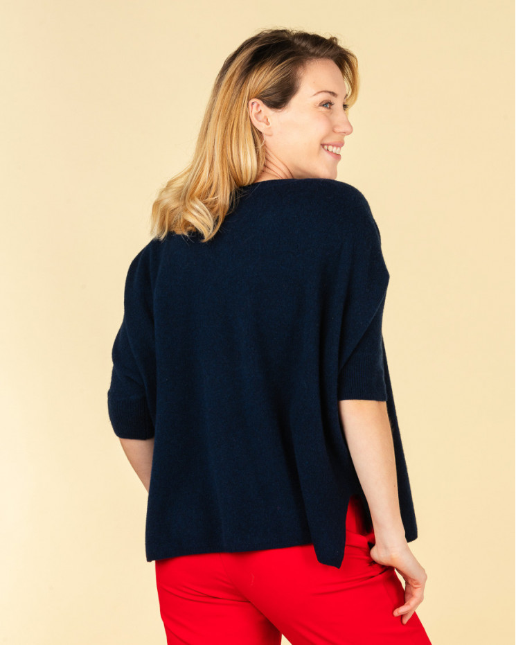 poncho col rond ample | 100% cachemire | nuit | olympe