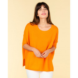 poncho col rond ample | 100% cachemire | jaune fluo | olympe