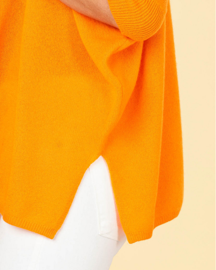 poncho col rond ample | 100% cachemire | papaye | olympe