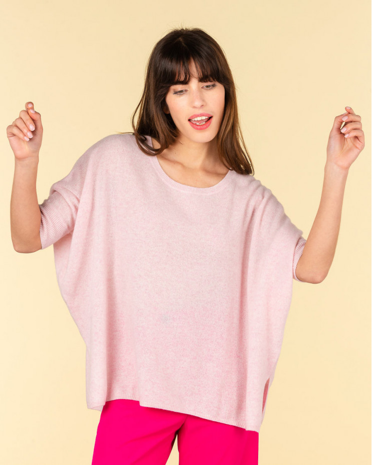 poncho col rond ample | 100% cachemire | poudre chine | olympe