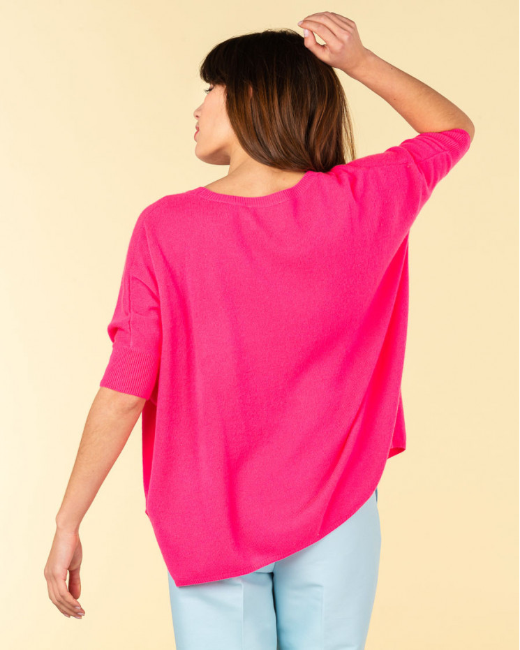 poncho col rond ample   100% cachemire   rose fluo   olympe