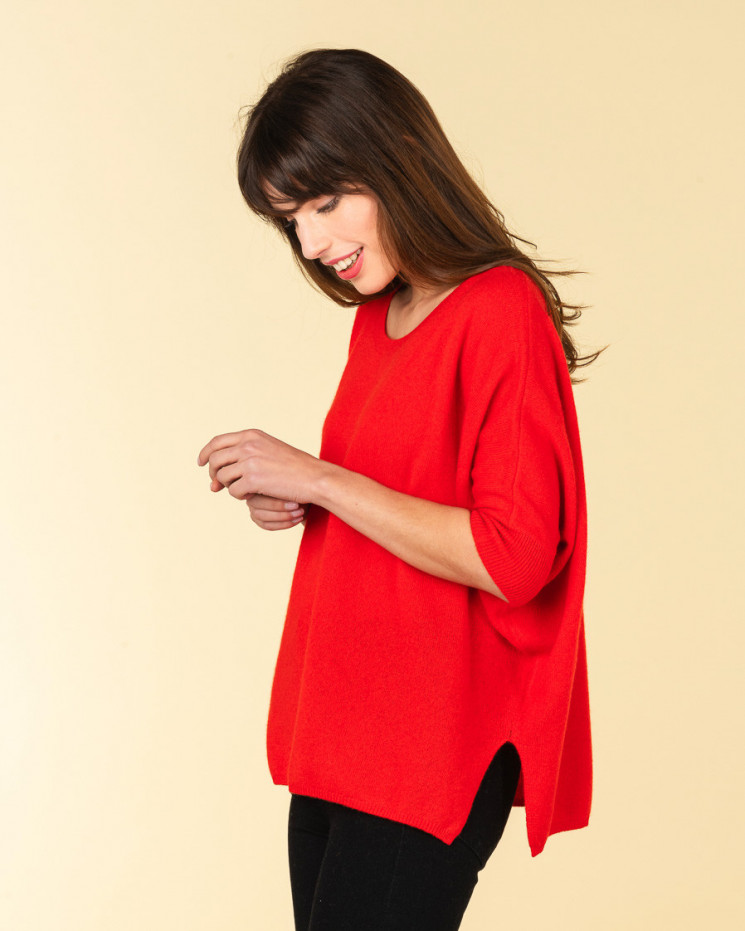 poncho col rond ample | 100% cachemire | rubis | olympe