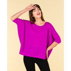 poncho col rond ample   100% cachemire   violet fluo   olympe