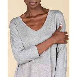 t-shirt col V ample manches 3/4 | 85% lin recyclé - 15% lin | gris chine | marion