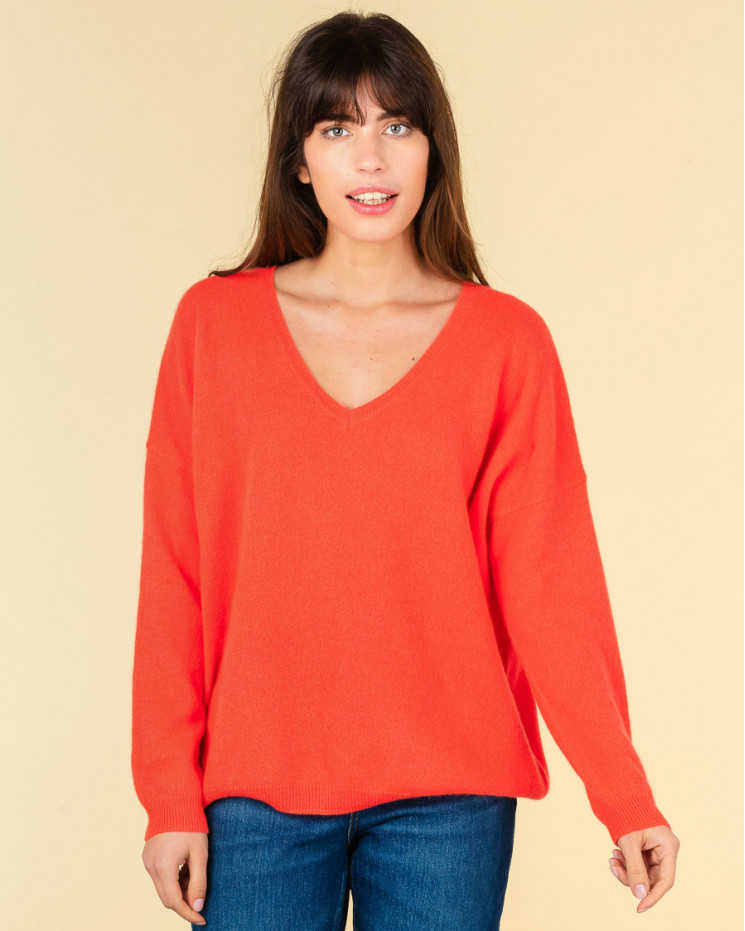 pull col V oversize | 100% cachemire | corail fluo | angele