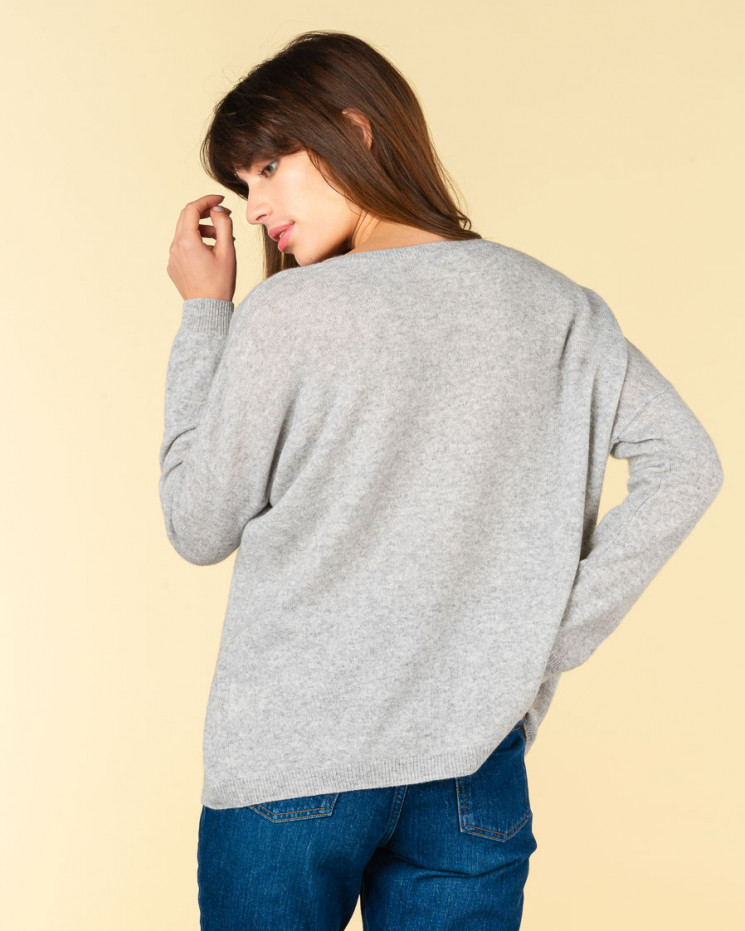 pull col V oversize   100% cachemire   gris chine   angele