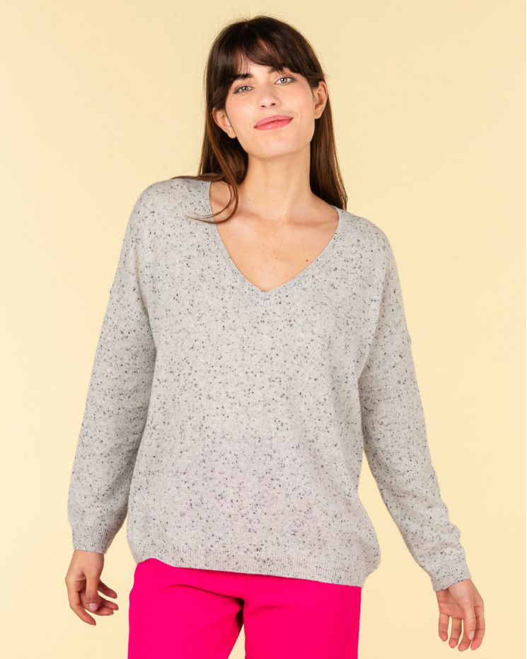 pull col V oversize | 100% cachemire | gris multico | angele