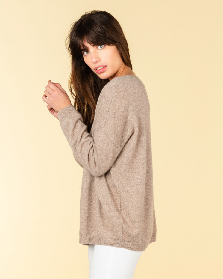 pull col V oversize | 100% cachemire | taupe | angele