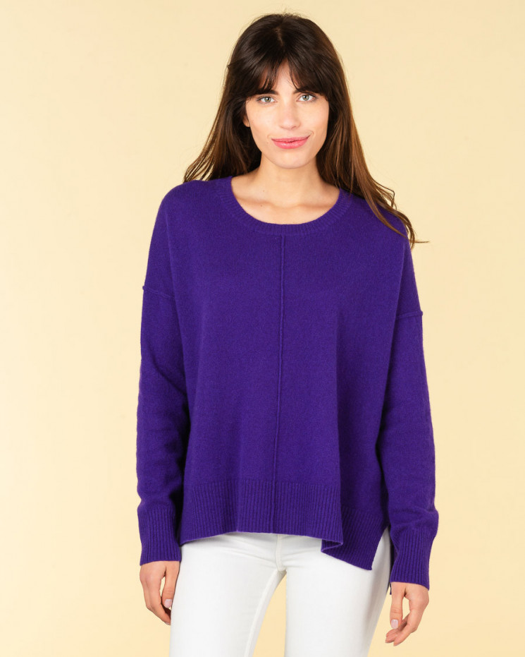 pull col rond coutures apparentes | 100% cachemire | amethyste | kenza