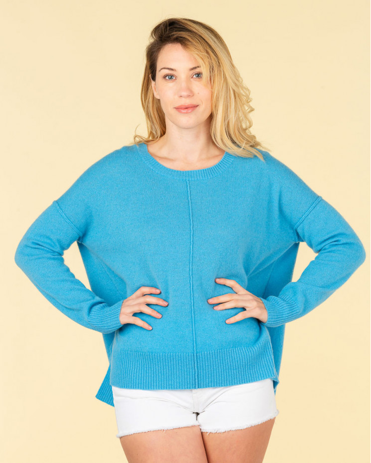 pull col rond coutures apparentes   100% cachemire   azur   kenza