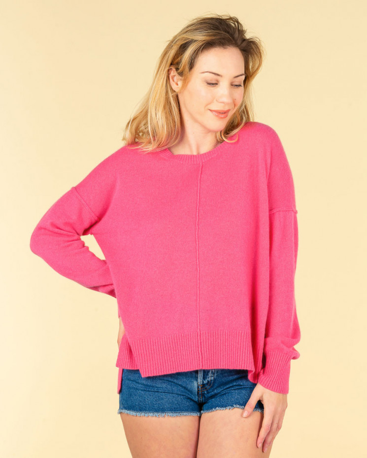 pull col rond coutures apparentes | 100% cachemire | bonbon | kenza