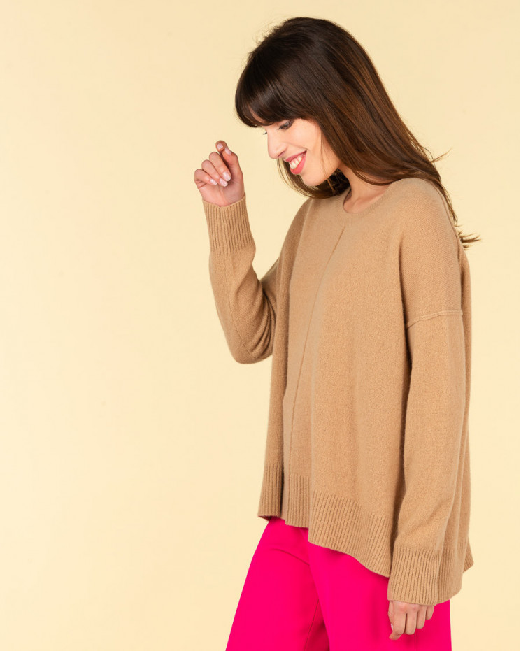 pull col rond coutures apparentes   100% cachemire   camel   kenza